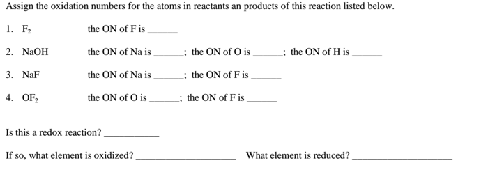 The oxidation number of sulfur in the compoun – Oxidation Numbers Worksheet