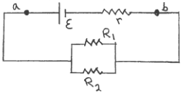 R1 3 0 Ω R2 6 And R 50 The Terminal Voltage Vab Of Battery Is 14 V What Emf