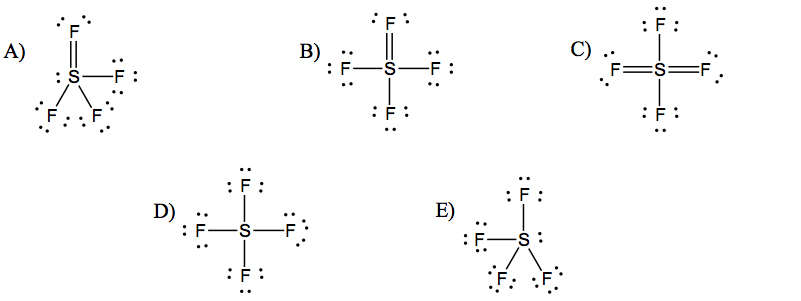 choose the best lewis structure for sf4