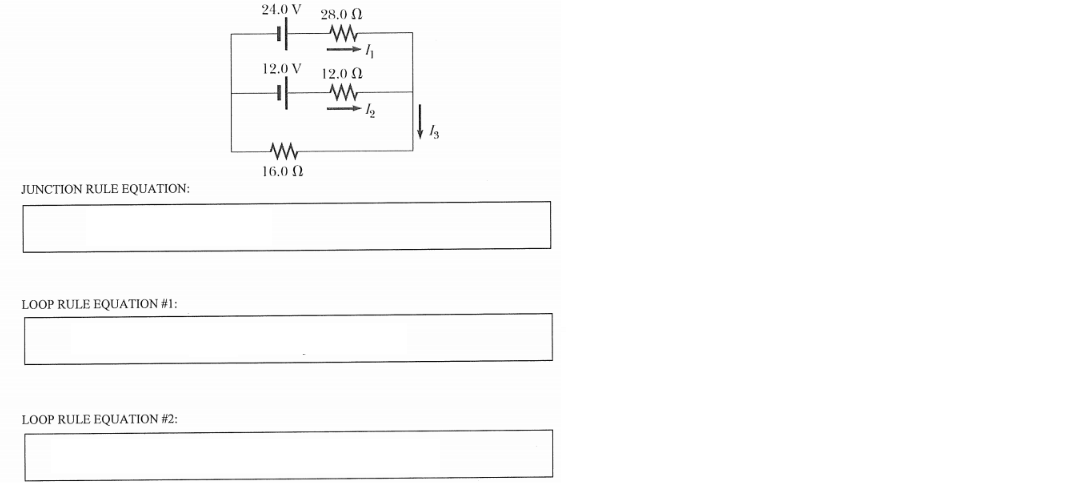 Present one junction and two loop rule equations that