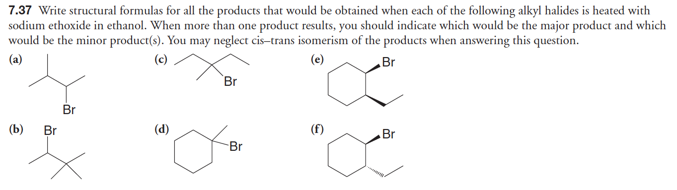 I understand that a) would go to an E1 mechanism since its in a protic solvent and heat and then there would be a carbon rearrangement which would allow for a major product being a trisubstituted alkene and a minor product being a disubstituted alkene but why would B) only have one product wouldn't it also proceed through an E1 mechanism?
