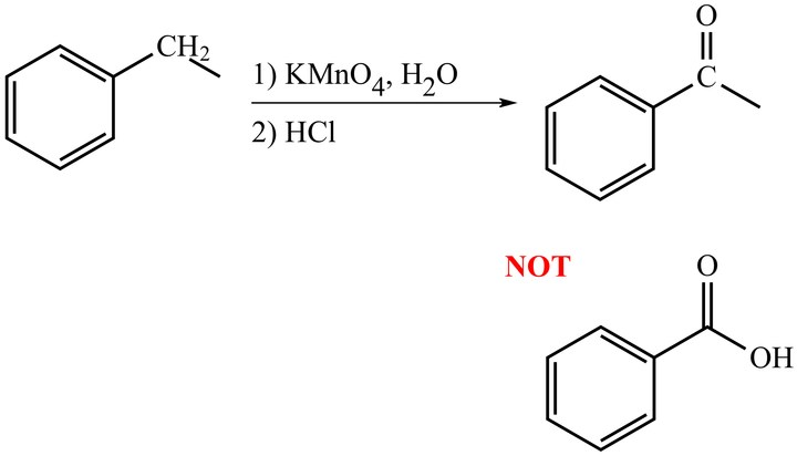 T/F: The oxidation of a secondary benzylic carbon can only be oxidized to a ketone not a carboxylic acid product (i.e. only the H's attached can be removed and replaced with oxygen.)