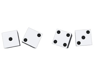 Two pairs of dice are shown.  The first pair shows a 1 and a 2, and the second pair shows a 4 and a 3.