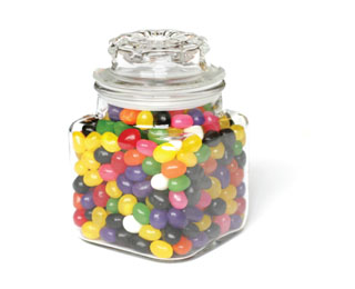 A photograph of a jar of jelly beans.