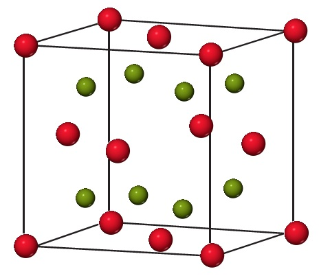A diagram shows a cube with oxygen as the corners and in the center of cube faces. Within the cube are also 8 sodium atoms.