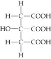 There is a structure of citric acid. It has a CH2CCH2 backbone, with an OH group attached to the second carbon atom and a COOH group attached to each carbon atom.