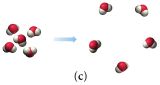 Scene C depicts five closely packed molecules going to the same five molecules spaced farther apart.
