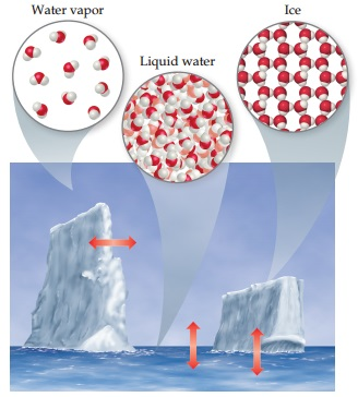 In water vapor, a gas, water molecules are very widely spaced. In liquid water, such as in the ocean, water molecules are very close together. In ice, water molecules are further apart than they are in liquid water, with molecules arranged in a lattice structure. A photograph of icebergs floating on the ocean indicates that molecules in ice convert both to vapor and liquid water, molecules in liquid go to vapor and ice, and vapor goes to both ice and liquid.