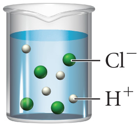 A beaker containing a solution of four green spheres labeled Cl- and four smaller white spheres labeled H+.