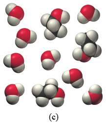 Scene C is a collection of two different molecules. The molecules consist of a red sphere combined with two gray spheres and the second molecule is two black spheres surrounded by six gray spheres and one red sphere. The molecules appear to be randomly distributed throughout the sample.