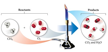 The reactants CH4 plus O2 enter a Bunsen burner; the products in the flame are CO2 and H2O.