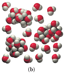 The figure shows two types of clusters. The first type consists of a red sphere with two fused white spheres. There are 13 clusters of the first type. The second type consists of red spheres fused with white and black spheres. There are three clusters of the second type.