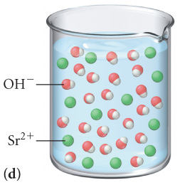 The figure labeled D shows a beaker filled with a solution which contains 24 molecules of OH minus and 12 molecules of Sr 2 plus.