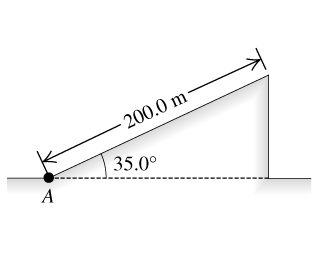 The figure shows a 200.0 meters incline that starts at point A and makes an angle of 35.0 degrees above the horizontal.