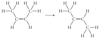 The figure shows the reaction of isomerization. The reactant is a CC double bond. Each carbon has a hydrogen atom attached below the double bond and a -CH3 group attached above the double bond. The product is a CC double bond with a hydrogen atom attached below the double bond to the first carbon and above the double bond to the second carbon. Also, it has a -CH3 group attached above the double bond to the first carbon and attached below the double bond to the second carbon.