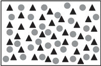 The figure shows 32 triangles and 35 circles in the rectangle, all figures being arranged closely and in a free order.