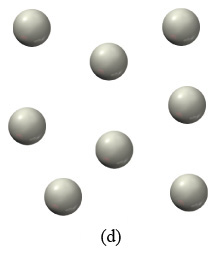 Scene D is a collection of isolated gray spheres.