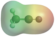 The figure shows an electrostatic potential map for acetonitrile. The map is red at the nitrogen atom, green around -CH3 group and yellow-green around carbon atom which is connected with nitrogen.