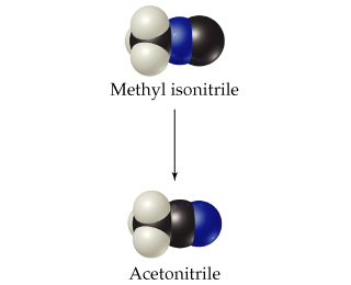 Methyl isonitrile is a CH3 fused right to nitrogen, which is fused right to carbon. Acetonitrile is a CH3 fused right to carbon, which is fused right to nitrogen.