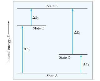 State A is at the lowest internal energy (E), while State B is at the highest internal energy.  From State A, delta-E1 goes up to State C, about two-thirds of the way to State B.  From State C, delta-E2 goes up to State B. Also from State A, delta-E3 goes up to State D, about one-third of the way up to State B.  From State D, delta-E4 goes up to State B.