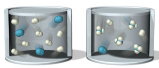 Two containers, the container on the left contains the initial amounts of reactants and has three molecules composed two blue spheres combined and eight molecules composed of two smaller white spheres combined. The container on the right is the mixture after it has been allowed to react for some time. It has one molecule of two blue spheres combined, two molecules of two white spheres combined, and four molecules composed of a central blue sphere surrounded by three white spheres in a trigonal pyramidal geometry.