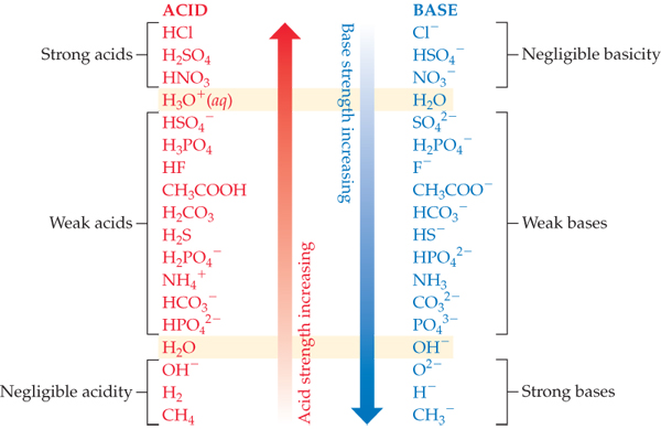 Acid strength increases moving down the table, while base strength increases moving up the table.  Strong acids include HCl, H2SO4, HNO3, and H3O+ (aqueous).  Weak acids include HSO_4^-, H3PO4, HF, CH3COOH, H2CO3, H2S, H2PO_4^-, NH_4^+, HCO_3^-, HPO_4^2- and H2O.  Negligibly acidic species include OH-, H2, and CH4. Strong bases include O_2^-, H-, and CH_3^-.  Weak bases include SO_4^2-, H_2PO_4^-, F-, CH3COO-, HCO_3^-, HS^-, HPO4^2-, NH_3, CO_3^2-, PO_4^3-, and OH-.  Negligibly basic species H2O, NO3^-, HSO_4^-, and Cl^-.