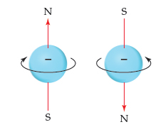 Diagrams show that an electron spinning clockwise has N above and S below, while an electron spinning counterclockwise has S above and N below.