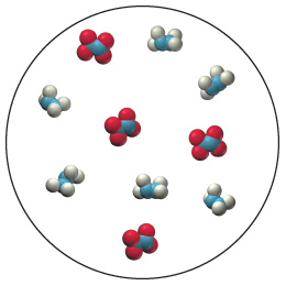 A space-filling molecular diagram which is a collection of six molecules composed of two blue spheres combined surrounded by four smaller white spheres (two on each blue sphere), and four molecules composed of two blue spheres combined surrounded by four red spheres (two on each blue sphere).