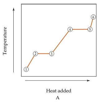 Line graph A shows temperature versus heat added, with the line plotted in each divided into numbered segments. Temperature and heat increase linearly from points 1 to 2, heat increases while temperature remains constant from points 2 to 3, temperature and heat increase linearly from points 3 to 4, heat increases while temperature remains constant from points 4 to 5, and temperature and heat increase linearly from points 5 to 6. The slope of the line for points 3 to 4 is steeper than that of the segment from 1 to 2, while that of the segment for 5 to 6 is even steeper.