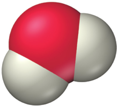 Space filling molecular model showing a central red sphere overlapping two gray spheres.