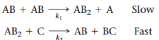 The figure shows 2 schemes of reaction. In the first reaction labeled slow, AB reacts with AB and gets AB2 and A. The constant of the reaction is k1. In the second reaction labeled fast, AB2 reacts with C in order to form AB and BC. The constant of the reaction is k2.