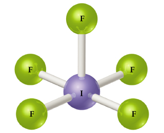 A ball-and-stick model of compound consisting of a central I single bonded to 5 Fs.