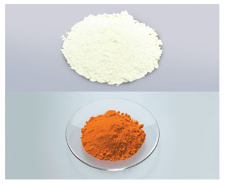 Photographs of two piles of powder. The top pile has a wider diameter than the bottom and is nearly white, while the bottom power is rust colored.