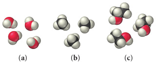 Three space-filling molecular models: a, b, and c. Model a consists of four molecules each with a central red sphere surrounded by two smaller white spheres in a bent geometry. Model b consists of three molecules each with a central black sphere surrounded by four smaller white spheres in a tetrahedral geometry. Model c consists of three molecules each with two black spheres and a red sphere surrounded by six smaller white spheres, three on the first black sphere, two on the second, and one on the red sphere.