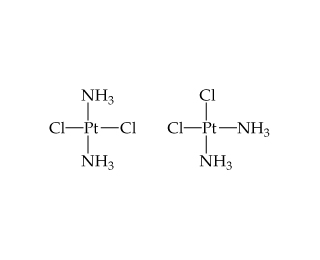 The first structure is a central Pt single bonded below to NH3, right to Cl, left to Cl, and above to NH3.  In the second, Pt is single bonded below and right to NH3 and left and above to Cl.