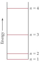 Energy increases slightly from n equals 1 to n equals 2, and then increases a lot to n equals 3 and even more to n equals 4.