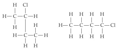 The first compound consists of two carbon atoms joined by single bonds. The left carbon is single bonded to three Hs and the right C is single bonded above to Cl, right to H, and below to C. That C is single bonded left and below to H and right to a C that is single bonded to three Hs. The second compound consists of a chain of four Cs joined by single bonds. The left C is single bonded left, above and below to H and the other Cs are single bonded above and below to H. The final C is also single bonded right to Cl.
