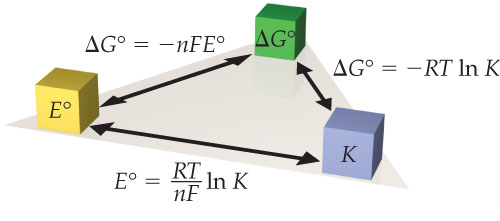 The relationship between E naught and delta-G naught is delta-G naught equals –n times F times E naught. The relationship between delta-G naught and K is delta-G naught equals negative R times T times the natural log of K. The relationship between K and E naught is E naught equals R times T times divided by n divided by F times the natural log of K.