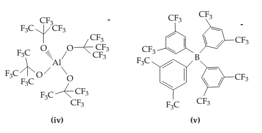 (iv) A central Al is bonded to O on four sides. Each O is single bonded to a C that is single bonded to three CF3s. (v) A central B is single bonded on four sides to benzene rings. Each benzene ring is attached to two CF3s.