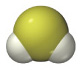 A yellow sphere is bound to two smaller white spheres arranged in a bent geometry.