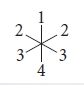 The figure shows 3 lines crossed in 1 point at the same angles. The ends of the lines can be counted clockwise and are labeled with numbers. They are 1, 2, 3, 4, 3, and 2, respectively.