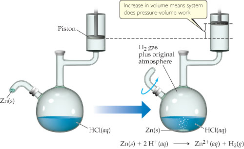 A diagram shows a flask containing HCl (aqueous).  The top of the flask leads to a piston, and the side of the flask has a small inlet for Zn (solid).  After some zinc is added, the inlet is closed, and the following reaction takes place in the flask: Zn (solid) plus 2 H+ (aqueous) goes to Zn2+ (aqueous) plus H2 (gas). The flask now contains H2 gas plus the original atmosphere.  The piston has moved up; the increase in volume means the system does pressure-volume work.