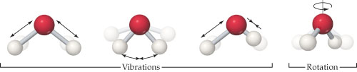 A ball-and-stick model shows a water molecule as an upside down V with the O at the point and H at the end of each arm. During vibrations, the bonds shorten (the Hs move toward O); the angle between the bonds increases or decreases; or one bond lengthens and one bond shortens (one H moves closer to O while the other moves further away). During rotation, the molecule rotates or spins around a central axis, but the OH bond lengths and angles remain the same.