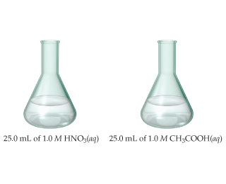 Two flasks. The left has 25.0 milliliters of 1.0 molar HNO3 (aqueous); the right has 25.0 milliliters of 1.0 molar CH3COOH (aqueous).