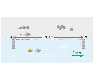 The two piers in the river are located at a distance of 1500 meters from each other. Pier B is to the right of pier A. The velocity of the current is directed from left to right. There is a boat going from left to right and a person walking on the shore in the same direction.