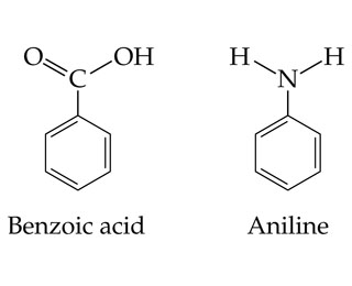 Benzoic acid is a COOH single bonded to benzene. Aniline is an NH2 single bonded to benzene.