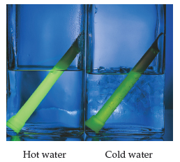 A photograph shows that a light stick glows brighter when submerged in hot water as compared to cold water.
