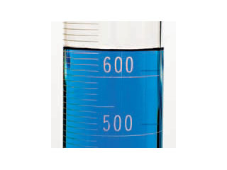 A piece of volumetric laboratory glassware graduated in units of ten, which are unknown. The liquid has the bottom of its meniscus approximately halfway between the 4th and 5th graduation mark above the labeled 600 graduation.