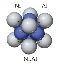 Ni3Al has Al atoms as the corners of a cube. Within the cube areNi atoms.