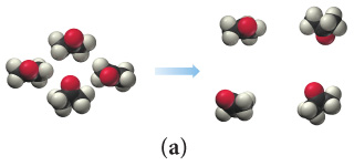 Scene A depicts a sample of closely packed molecules going to a sample of the same molecules spaced farther apart.